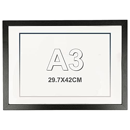 Marco de Fotos 29.7 x 42 cm A3 Negro Hecho de Madera Panel de Metacrilato Marco de Fotos para Decoracion Especial para Títulos Universitarios