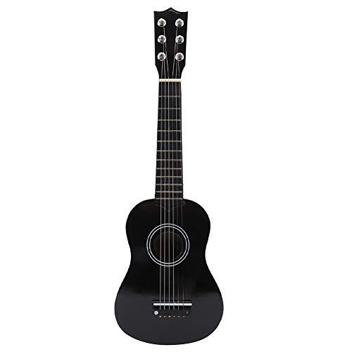 Akustische Kindergitarre, 21 Zoll tragbare Kindergitarre Spielzeuggitarre Massivholz Schwarze Gitarre Musikinstrumentalspielzeug Junior-Gitarre mit Stahlsaite für Kinder ab 3 Jahren, 21 x 6,9 x 2,2 Zo