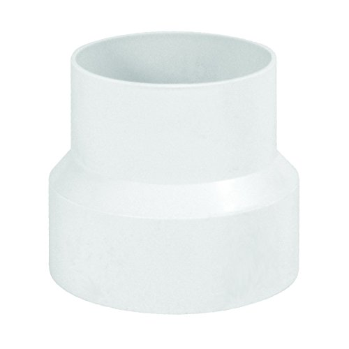 """Deflecto Duct Increaser and Reducer, Plastic Inline Adapter, White, 4"""" to 3"""" (IRB43)"""