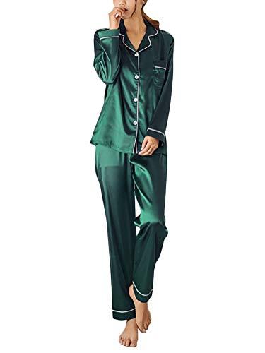 ORANDESIGNE Pijama de Seda de Dos Piezas para Las Mujeres Primavera Otoño Suave Cómodo Conjunto de Pijamas de Satén Homewear Sleepwear Tops + Pantalones Largos A Verde ES 44
