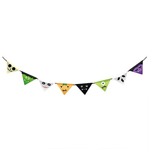 Demarkt 1 PcsHalloween décoration Papier Couleur Pull Flag Mall Bar KTV école Halloween décoration Fournitures (Style 5) 300cm