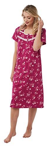 Damen Kurzarm 100% Baumwolle Jersey Nachthemd in 2 Prints Gr. 52-54, rose