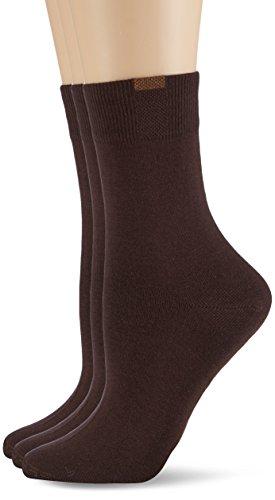Nur Die Damen Passt Perfekt 3er Strick Socken, Blickdicht, Braun (braun 650), 39-42