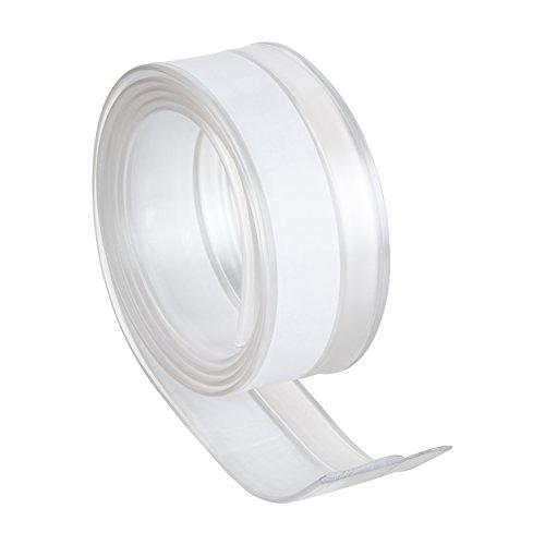 Geko 940007 tocht-stopper van transparant PVC-universele deurafdichting voor deuren - eenvoudige zelfklevende montage - individueel op maat te snijden - 1 m x 2,8 cm, transparant