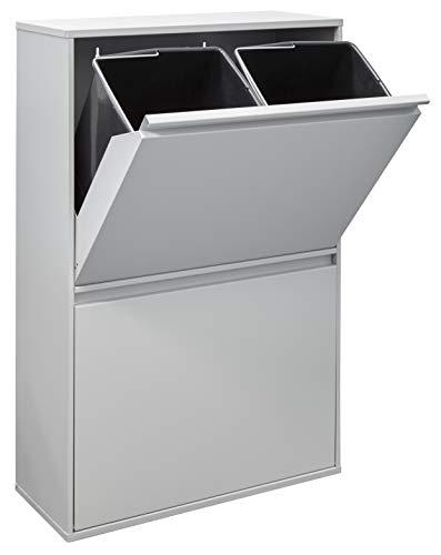 Arregui Basic Cubo de Basura y Reciclaje de Acero con 4 Cubos, Metal, Gris Claro, 90,5 x 58,5 x 24,5 cm