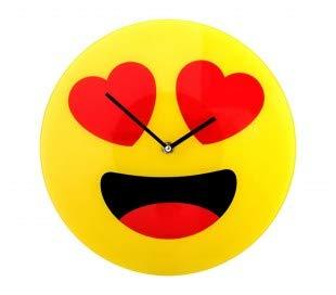 79/3232 Reloj de pared de vidrio del emoticono ojos de corazón diámetro de 30 c
