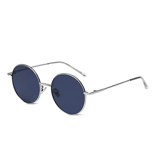 LumiSyne Retro Gafas De Sol Redondas Hombre Mujer Anteojos Lennon Steampunk Lentes De Color Polarizadas UV400 Ronda Marco De Metal Estilo Hippy Vintage(Azul oscuro)