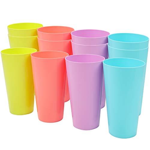 Set Vasos de Plastico (500ml) - 12 Piezas Vasos Reutilizables - Set de Vasos de Plástico Duro para Fiestas, Bodas, Acampadas, Playa y Picnic - Aptos para Lavavajillas Estante Alto - Vasos Colores