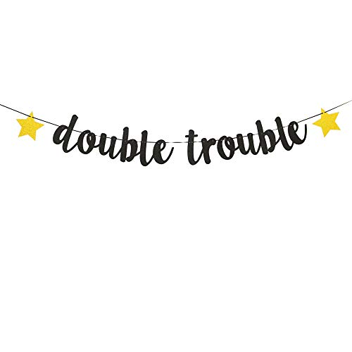 Double Trouble Glitter Gold Banner