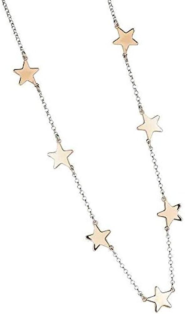 Boccadamo, collana per donna ,in bronzo placcato oro rosa con stelle lucide passanti Xgr350Rs