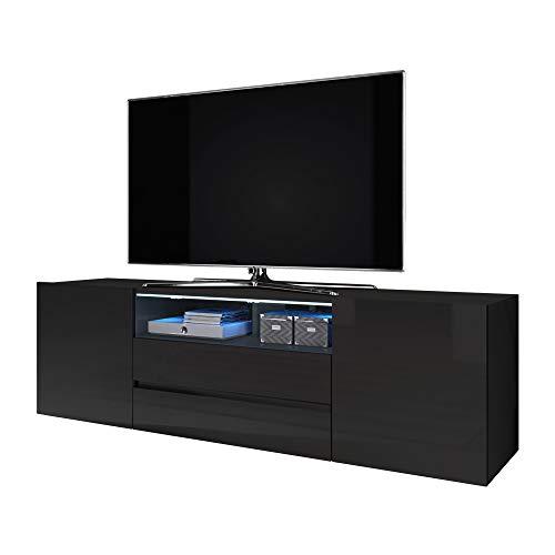 Selsey Bros - Mueble TV Minimalista/Mesa TV/Mueble para Salón/Mueble TV Moderno (con LED, Negro Mate/Negro Brillante)