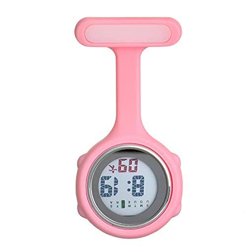 LLRR Colgante Enfermera Prendedor Reloj,Números electrónicos Muestran Nightnometer, cronometraje médico-Rosa,Enfermera Broche de Reloj