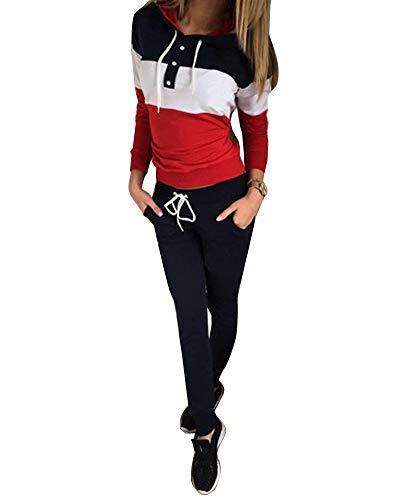 Minetom Schwarz Farbblock Taschen Kordelzug 2-in-1 Long Jumpsuit Damen Kapuzenpullover Hose Jogginganzug Sportanzug RED 36