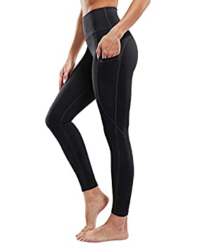 """G4Free Yoga Pants for Women Black Leggings with Pockets Non See-Through High Waisted Workout Pant 26"""" Inseam  Black S"""
