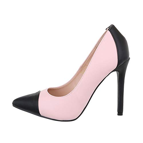 Ital-Design Damenschuhe Pumps High Heel Pumps Synthetik Rosa Schwarz Gr. 40