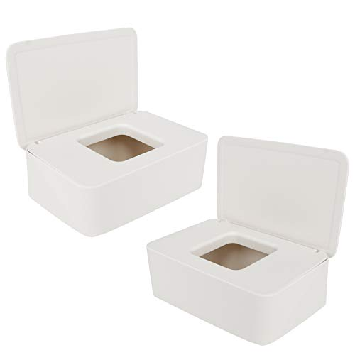 Huayue 2 Stück Feuchttuch-Box, Baby Feuchttücher Box Toilettenpapier Box Kunststoff Nass Seidenpapier Baby Tücher Fall Tücherbox Spender Feuchttücher Aufbewahrungsbox Serviettenbox mit Deckel (Weiß)