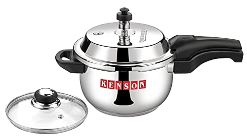 Kenson 2.5 litre pressure cooker Stainless Steel 2.5 Ltr Cooker Cookware Cooking Set Induction Cooker Stainless Steel Pressure Cooker Outer Lid Induction Base With Glass Lid (Size: 2.5 Liters)