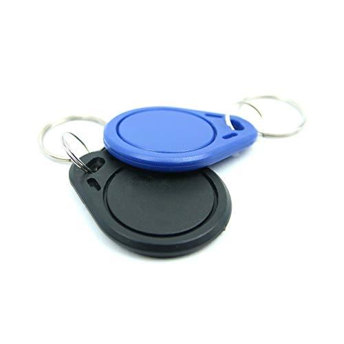 NFC Tag Anhänger, 40x32mm, NXP NFC Chip, 180 Byte, blau/schwarz, optimal für Geräte-/ Profilsteuerung (WLAN, Bluetooth, Apps), kompatibel mit Allen NFC Smartphones und Tablets, 2 Stück