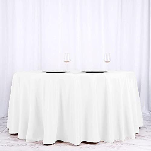 Efavormart 10PCS 120 Wholesale Round Tablecloth Polyester Round Table Linens for Wedding Party Banquet Restaurant - White
