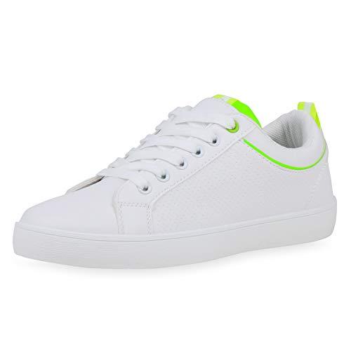 SCARPE VITA Damen Sneaker Low Basic Turnschuhe Schnürer Leder-Optik Schuhe Vintage Flats Freizeitschuhe Lack 190590 Weiss Neon Green 36