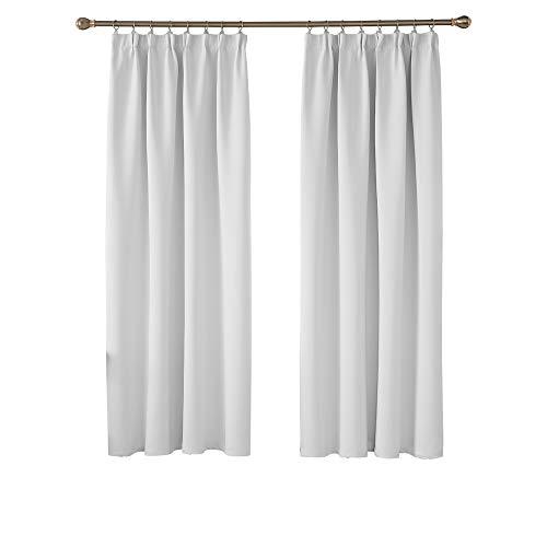 Deconovo Blickdichte Gardinen Vorhang Verdunkelungsgardinen mit Kräuselband 175x140 cm Grau Weiß 2er Set