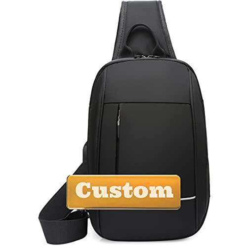 Nombre Personalizado Hombre Sling Bolso de Hombro Correa USB Bolsa de Hombro Ultralight (Color : Black, Size : One Size)