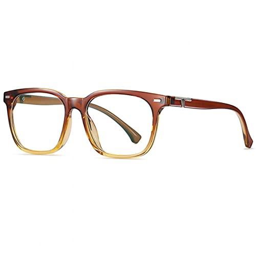 BAJIE Gafas de Sol Nuevas Gafas Anti-BLU-Ray Moda Cuadrada Marco de Espejo Liso Hombres y Mujeres Arte General Espejo Plano de Cara Grande