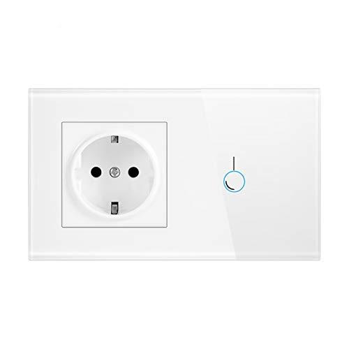 DJNCIA Panel de interruptores Interruptor del Sensor táctil con el Panel de Cristal del zócalo 170~250V 16A 146 * 86 Toma de Pared con Interruptor de luz 1WAY para Oficina en casa