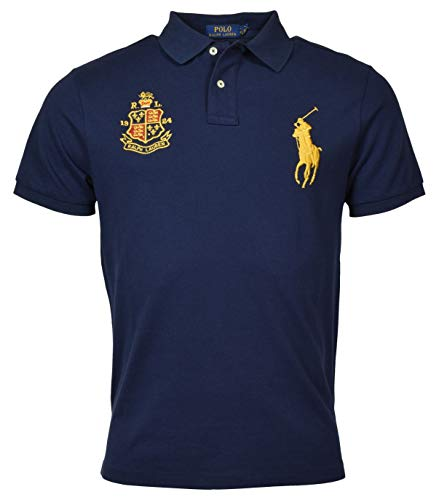 Polo Ralph Lauren Big Pony Custom Slim Fit Crest Polo (Small, Navy)