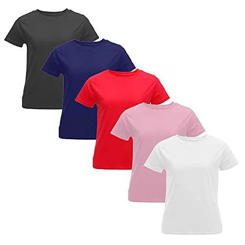 Pack 5 Camisetas Manga Corta Algodón para Mujer