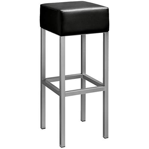 VEGA 10094657 Barhocker Cuba, 32x32x81 cm (BxTxH), Sitz schwarz, Gestell silber, 2 Stück