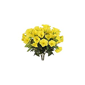 UpSoitech Artificial Flowers Faux Silk Yellow Flowers Artificial Outdoor Morning Glory Shrubs Fake Flower Bouquet for Wedding Indoor Table Vase Home Garden Office Autumn Decor Home Decoration