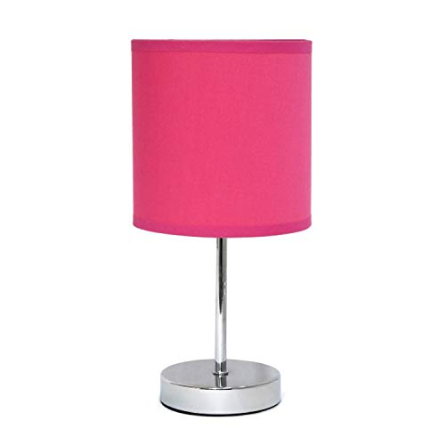 Simple Designs Chrome Mini Basic Table Lamp with Fabric Shade