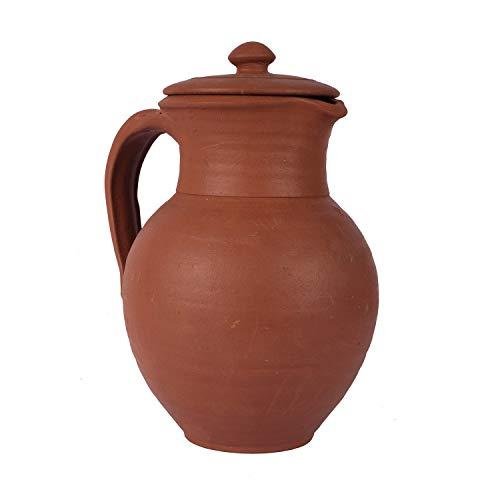 Village Decor handgefertigter Ton-Wasserkrug mit Deckel – Karaffen, Krug, Tischplatte, Küche, Aufbewahrung, umweltfreundlich, 284 ml