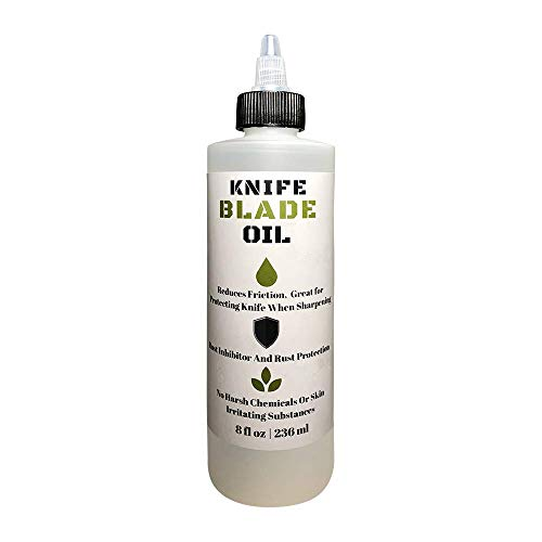 Premium Knife Blade Oil & Honing Oil - 8 Oz - Custom Formulated Food Safe Oil Protects Carbon Steel Knives & Sharpening Stone Ready…
