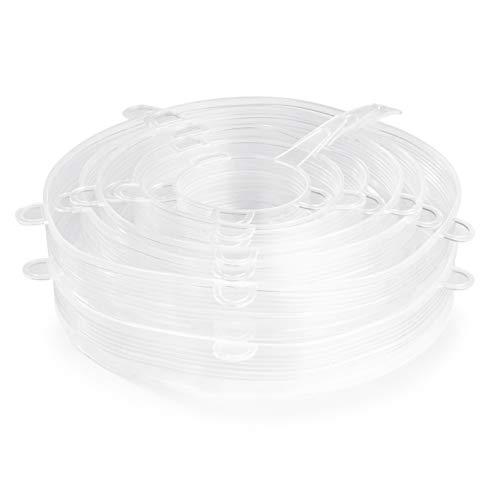 MAXXMEE silikonlockset – flexibelt | 12 transparent silikonlock i 6 olika storlekar | diskmaskins- och frysskåp | temperaturbeständig från -20 °C till 230 °C [Silikon]