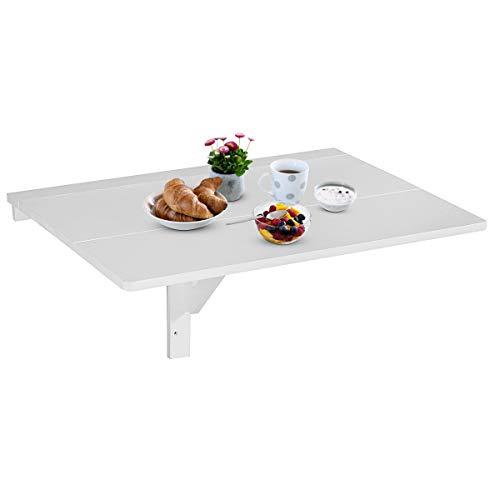 DREAMADE Wandklapptisch 80x60 cm, Wandklapptisch Holz Wandtisch klappbar, Küchetisch Beistelltisch Laptoptisch, Esstisch Ecktisch Schreibtisch Mehrzwecktisch (Weiß)