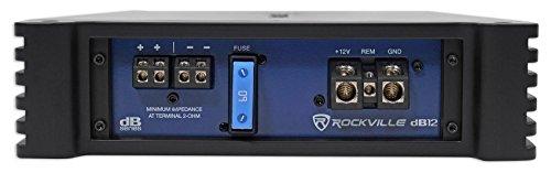 Rockville dB12 Black 2000 Watt/1000w RMS Mono Class D 2 Ohm Amplifier Car Audio Amp
