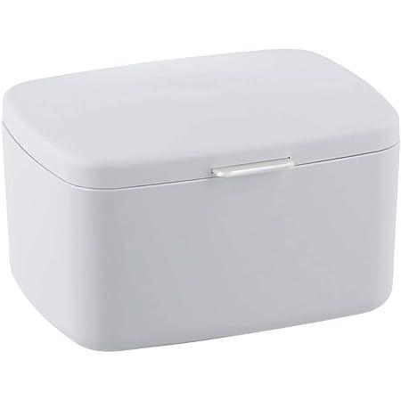 WENKO Boîte avec couvercle Barcelona blanc - Panier de rangement, panier de salle de bain avec couvercle, absolument incassable, Plastique (TPE), 19.5 x 11 x 16 cm, Blanc
