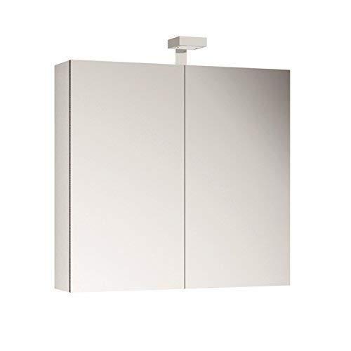 Allibert Spiegelschrank Spiegel Badmöbel vormontiert weiß 80 cm LED Beleuchtung