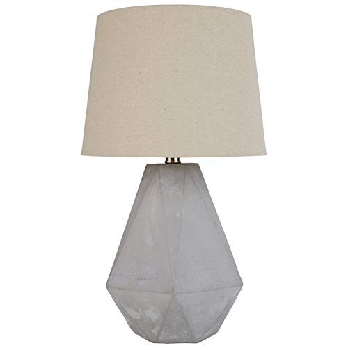 Amazon Brand – Rivet Mid Century Modern Diamond Cut Concrete Bedside Table Desk Lamp With Light Bulb - 20 Inches