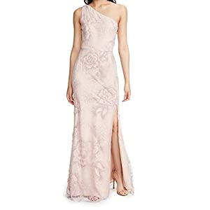 Marchesa Notte Women's One Shoulder Flocked Glitter Tulle Gown