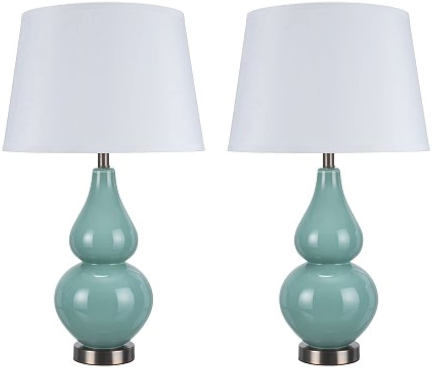 Aspen Creative 40021, Two Pack Set 26  High Modern Glass Table Lamp, Turquoise with Antique Red Copper Base and Hardback Empire Shaped Lamp Shade in White, 15  Wide