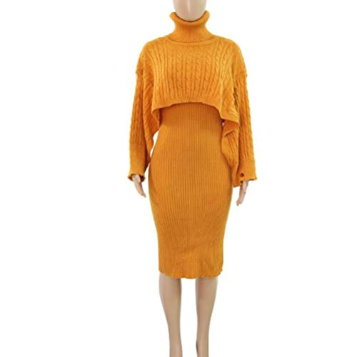 Dames Gebreide vrouwen Turtlneck trui jurk trui rok 2-delige set