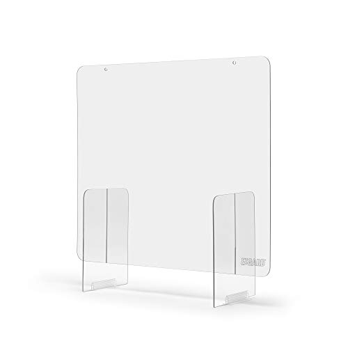 Portable Lightweight Sneeze and Cough Protective Plexiglass Shield Guard for Counters | (36' x 36' x 12') Clear Acrylic | Sales Counter/Reception Protection Barrier for Employers, Workers & Customers