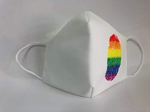Mascarilla reutilizable blanca huella lgtbi orgullo gay original...