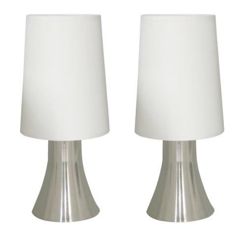 Tischleuchte JANNIS im 2er Set nickel Nachttisch-Leuchte Touch Funktion inkl. Leuchtmittel G9 Eco Halogen 33W Tischlamp