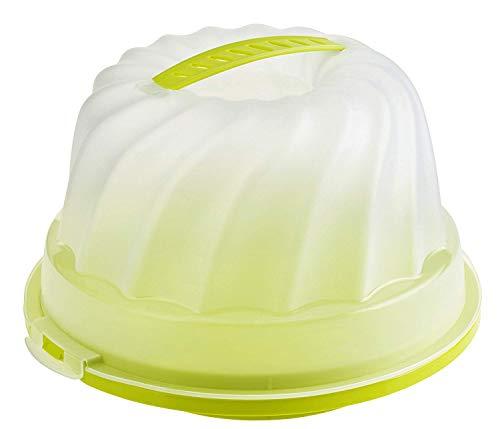 Rotho Fresh Kuchenbehälter für Gugelhupf mit Haube und Tragegriff, Kunststoff (PP) BPA-frei, grün/transparent, (30,5 x 28,5 x 17,5 cm)