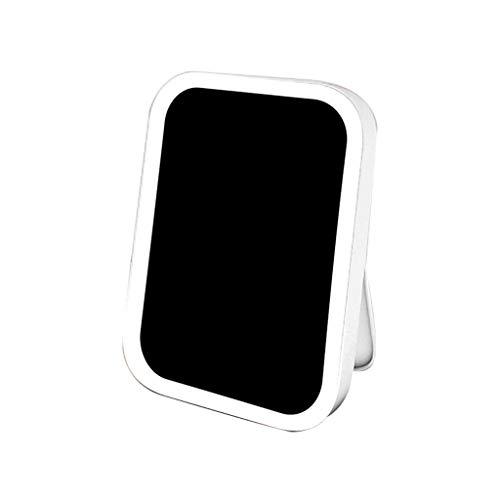 LLG Household Items& Viaje de Maquillaje Espejo con Luces y Magnificación, Escritorio portátil Plegable portátil Espejo de baño Espejo Vestir (Color: Rosa) (Color : White)