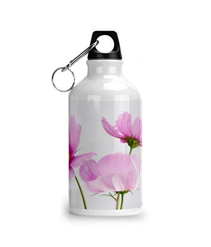 Cheeky Chaps Clothing Botella de agua de aluminio para deportes de color rosa con flores impresionantes Kawaii